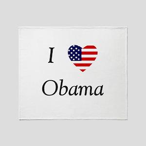 I love Obama (flag) Throw Blanket