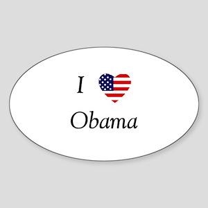 I love Obama (flag) Sticker (Oval)