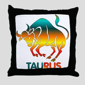 Rainbow Taurus Throw Pillow