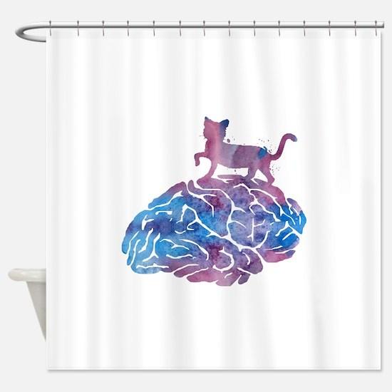 Cat walking on a brain Shower Curtain