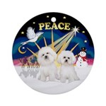 X-Sunrise - Two Bichon Frise Ornament (Round)