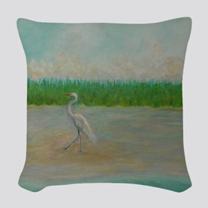 EAST COAST GREAT EGRET Woven Throw Pillow