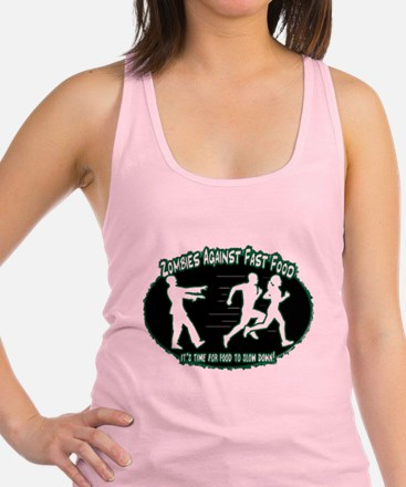Zombies Against Fast Food (green) Racerback Tank T
