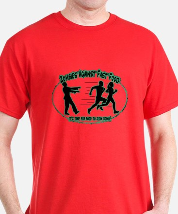 Zombies Against Fast Food (blue1) T-Shirt