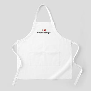 I Love Soccer Boys BBQ Apron