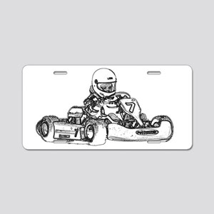 Kart Racing in Black and White Aluminum License Pl