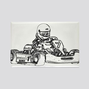 Kart Racing in Black and White Magnets