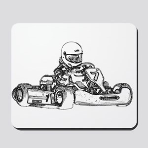 Kart Racing in Black and White Mousepad