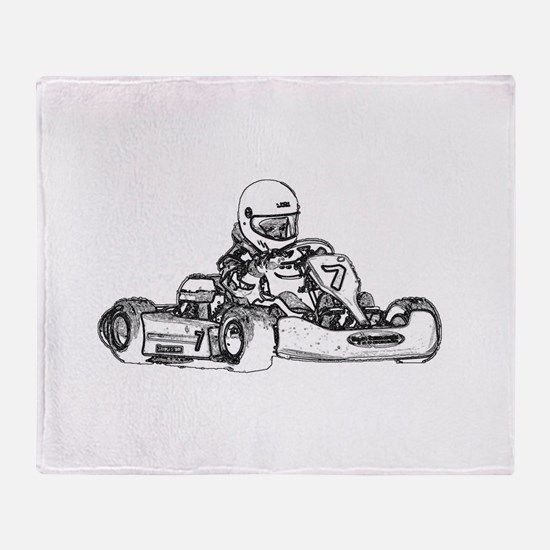 Kart Racing in Black and White Throw Blanket