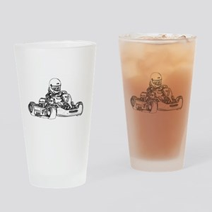 Kart Racing in Black and White Drinking Glass