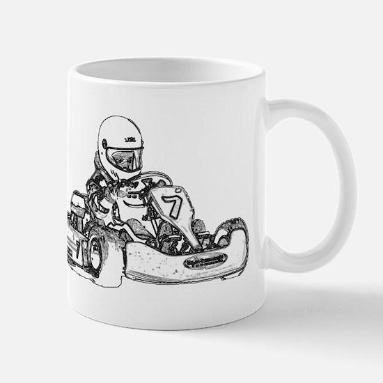 Kart Racing in Black and White Mugs