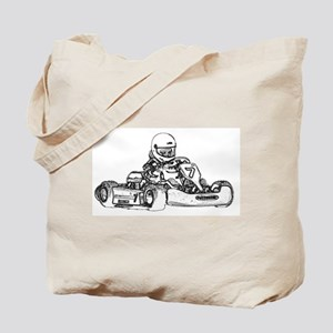 Kart Racing in Black and White Tote Bag