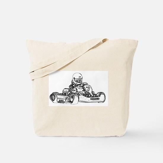 Kart Racing in Black and White Tote Bag