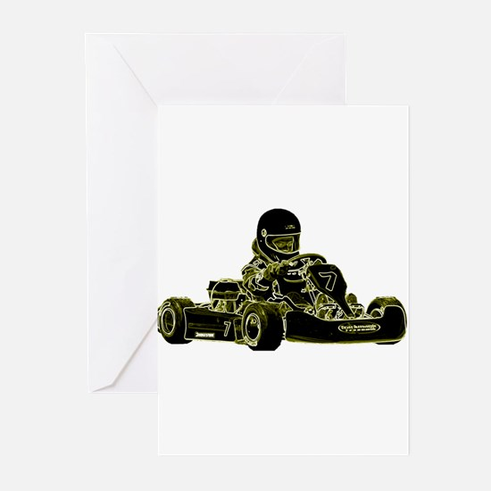 Kart Racing Black White and Green Greeting Cards