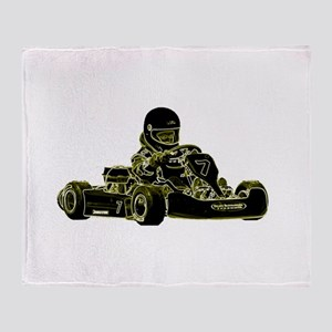 Kart Racing Black White and Green Throw Blanket