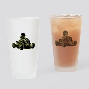 Kart Racing Black White and Green Drinking Glass