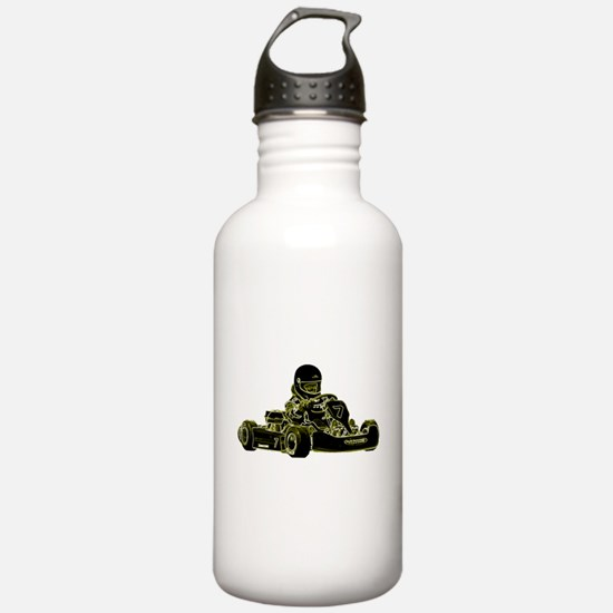 Kart Racing Black White and Green Water Bottle