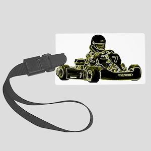 Kart Racing Black White and Green Luggage Tag
