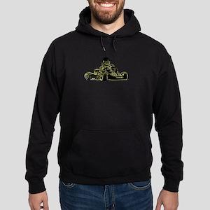 Kart Racing Black White and Green Hoodie