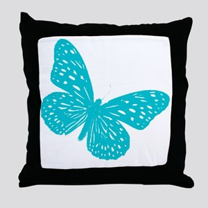 Turquoise Blue Butterfly Throw Pillow