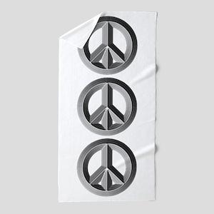 Silver Peace Sign Beach Towel