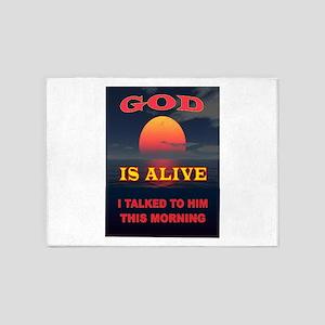 GOD IS ALIVE 5'x7'Area Rug