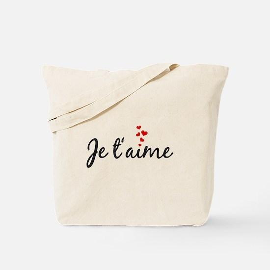 Je taime, I love you, French word art Tote Bag
