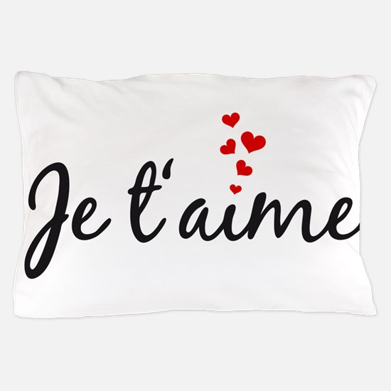 Je taime, I love you, French word art Pillow Case