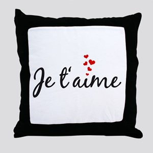Je taime, I love you, French word art Throw Pillow