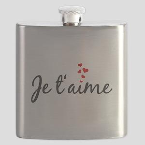 Je taime, I love you, French word art Flask