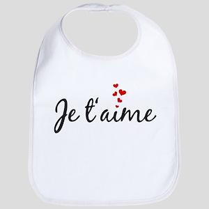 Je taime, I love you, French word art Bib