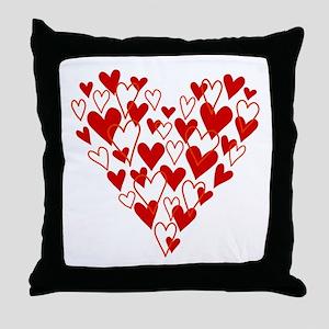 Hand drawn scribble heart Throw Pillow