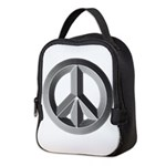Silver Peace Sign Neoprene Lunch Bag
