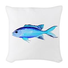 Blue Chromis Woven Throw Pillow