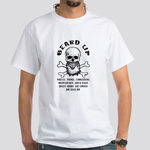 White Beard Up White T-Shirt