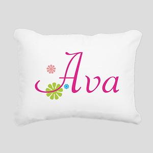 Ava Bright Flowers Rectangular Canvas Pillow