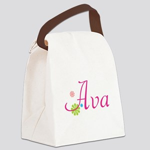 Ava Bright Flowers Canvas Lunch Bag