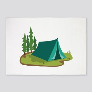 Tent Camping Nature 5'x7'Area Rug