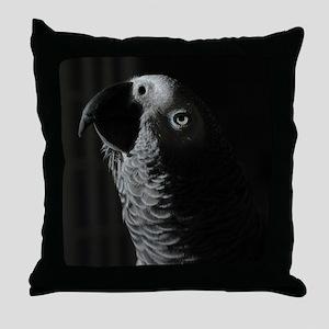 African Grey Parrot Profile Throw Pillow
