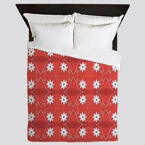 Pretty White Flowers on Red Queen Duvet