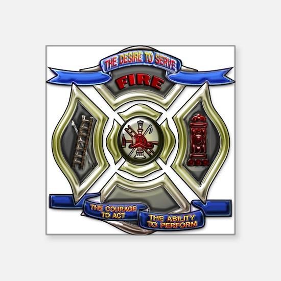 "Cute Fire rescue Square Sticker 3"" x 3"""