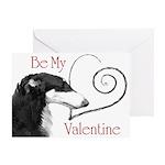 Borzoi Valentine Red-Black Card