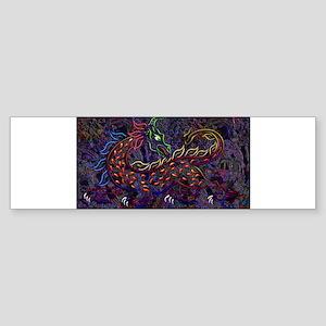 Fancy Medieval Neon Dragon b Sticker (Bumper)