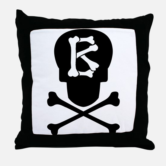 Skull & Crossbones Monogram B Throw Pillow