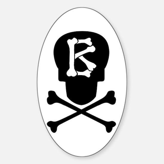 Skull & Crossbones Monogram B Sticker (Oval)