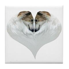 Borzoi Love Valentines Tile Coaster