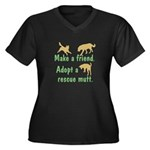 Adopt a Mutt Women's Plus Size V-Neck Dark T-Shirt