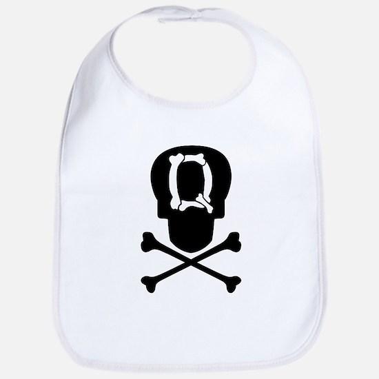 Skull & Crossbones Monogram Q Baby Bib