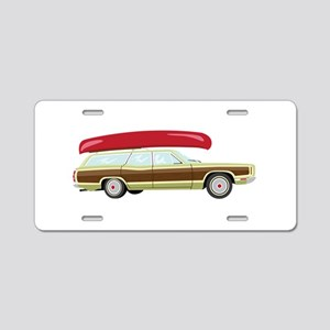 Station Wagon and Canoe Aluminum License Plate