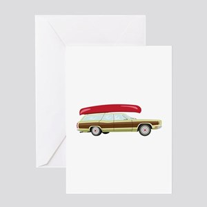 Station Wagon and Canoe Greeting Cards